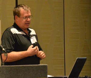 Greg Lay, live production manager for Pilgrim's, speaking at USPOULTRY's Hatchery-Breeder Clinic in Nashville, Tenn.