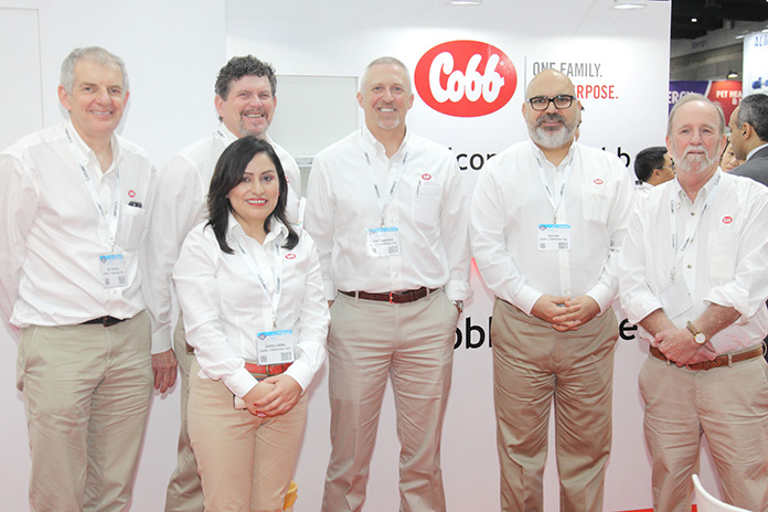 The Cobb group at VIV Asia — From left to right: Roy Mutimer, Charles Calvert, Justina Caldas, Joel Sappenfield, Erol Can and Mark Glavey
