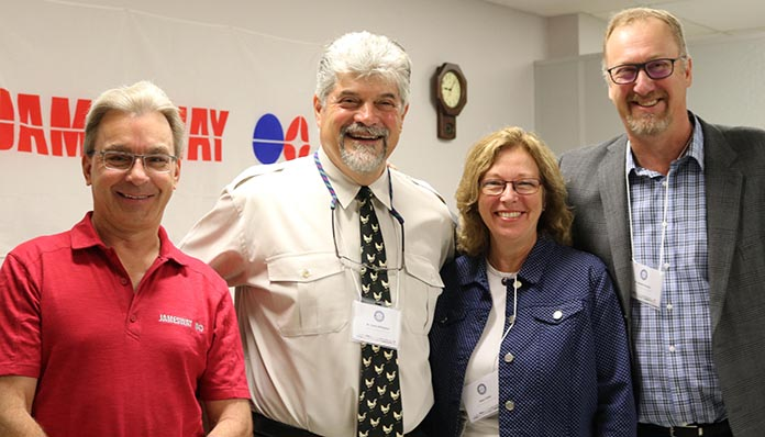 From Left to Right: Jamesway President; Christopher Omiecinski, Dr. Scott Gillingham; Aviagen North America, Gwen Zellen: Chicken Farmers of Ontario and Dr. Stewart Ritchie: Canadian Poultry Consultants